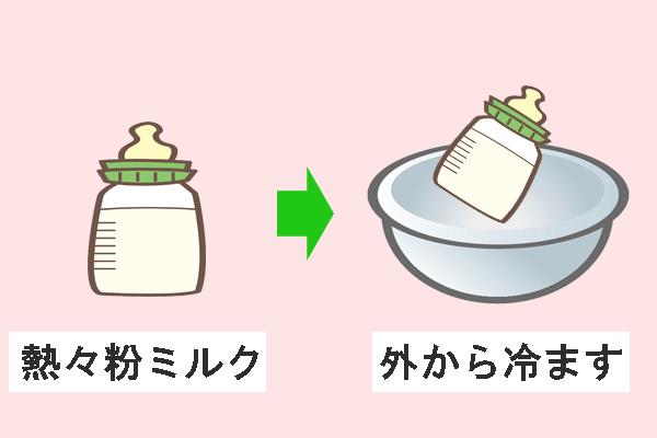 粉ミルクを外から冷やすイラスト