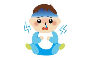 青い服を着た病気の赤ちゃんのイラスト