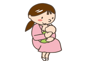 赤ちゃんに授乳するママのイラスト