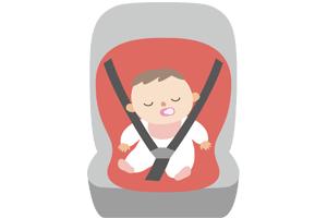 チャイルドシートでおしゃぶりをしながら眠る赤ちゃんのイラスト
