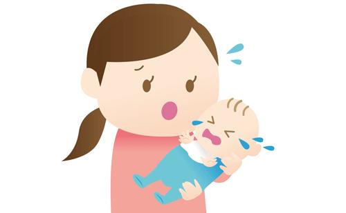 授乳中に暴れる赤ちゃんのイラスト